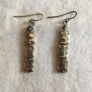 Jewelry - Hammered silver stacked squares dangle earrings